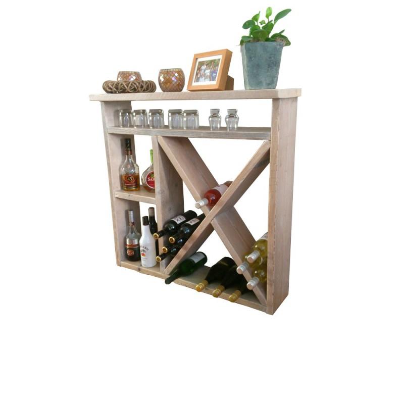 Mini bar wijnrek van steigerhout - Decoratie bar ...