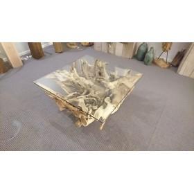 Teak houten salontafel 100 cm x 100 cm x 43 cm