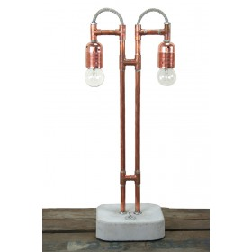 Tafellamp koper met beton.