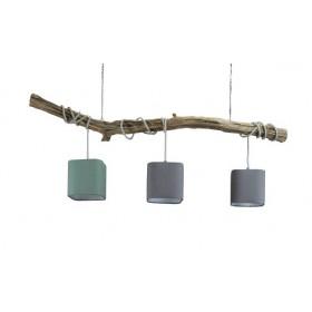 plafond lamp tak hout met 3 kappen