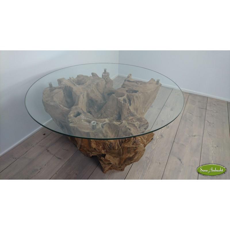Glazen Houten Salontafel.Salontafel Hout Glas
